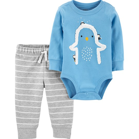 Carter's 2-Delar Penguins Baby Body och Byxor Set Blå BLUE (420)