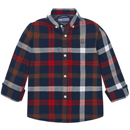 Mayoral Check Shirt Navy/Red 38