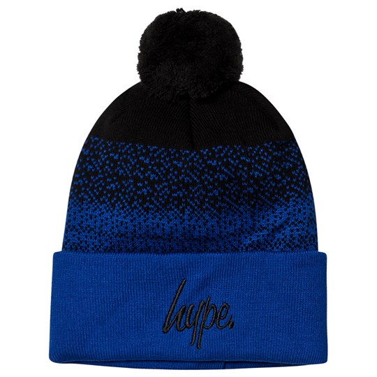 Hype Speckle Fade Bobble Beanie Black and Blue Black/blue