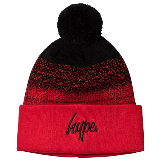 Hype Speckle Fade Bobble Beanie Black and Red Black/red