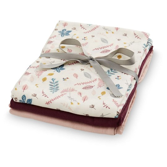 Cam Cam Muslin Cloth 3 Pack  Mix Pressed Leaves Bordeaux Pink