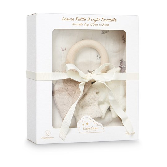 Cam Cam Gift Box with Swaddle and Rattle Leaves Fawn Beige