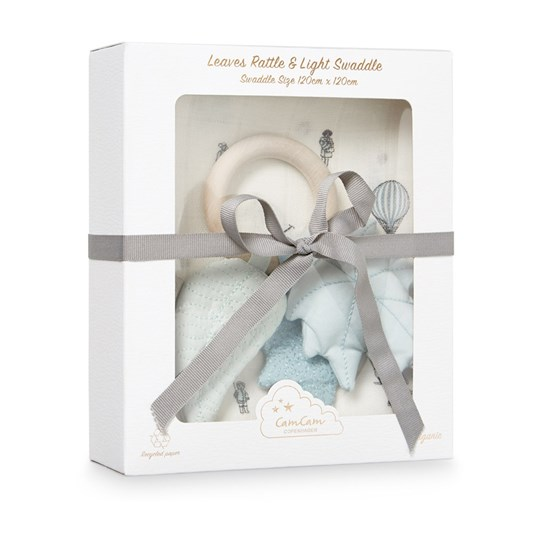 Cam Cam Gift Box w Printed Swaddle and Leaves Rattle  Holiday Cream