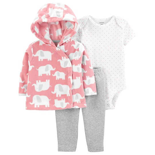 Carter's 3-Delar Elephant Little Jacka Set Rosa PINK (650)
