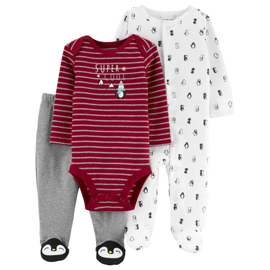 Carter's 3-Pack Pingvin Slogan Baby Set Red/Grey/White MULTI-COLOR (960)