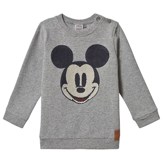 Wheat Sweatshirt Mickey Face Terry Melange Grey Melange Grey