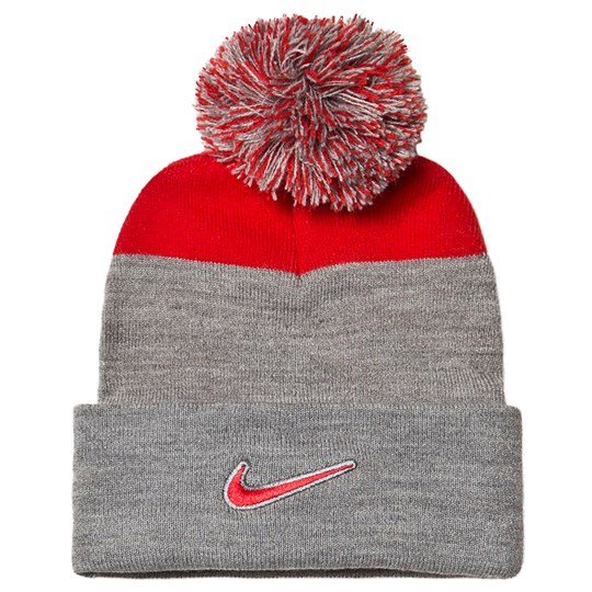 NIKE Pompom Beanie Grey/Red 091