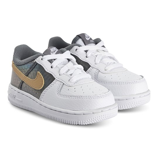 NIKE Force 1 Sneakers White and Metallic Gold 100