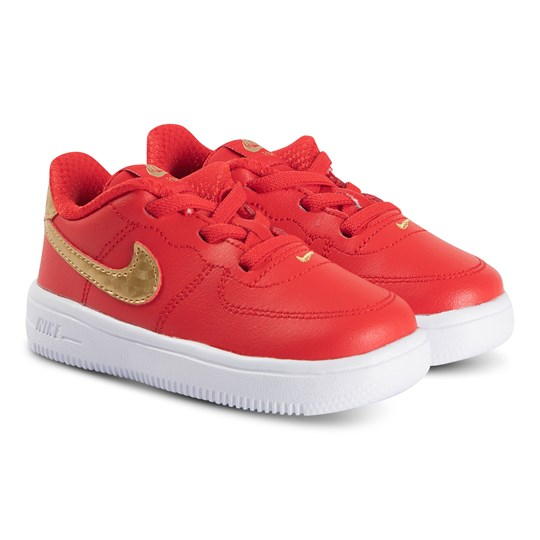 NIKE Red & Gold Nike Force 1 Infants Trainers 606