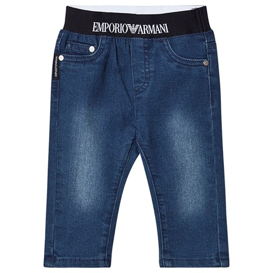 Emporio Armani Logo Pull Up Jeans Blue Denim 0941