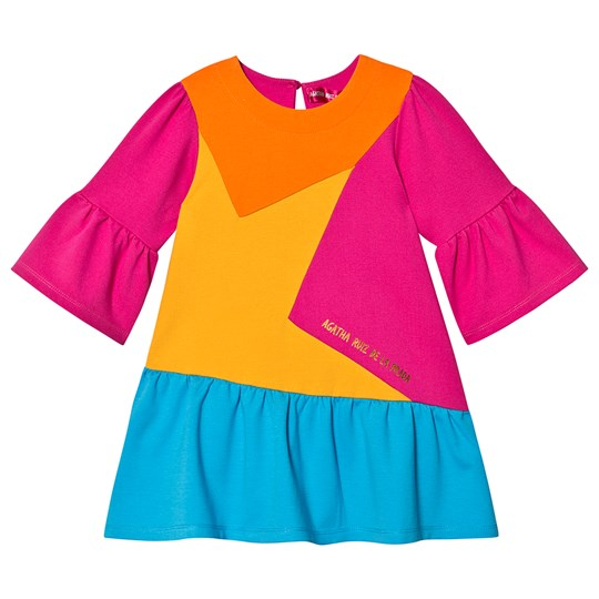Agatha Ruiz de la Prada Color Block Star Pleated Dress Pink 3510/08