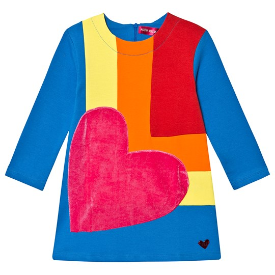 Agatha Ruiz de la Prada Rainbow Block Velvet Heart Dress Blue 5656/12