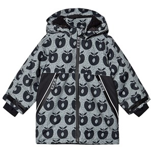 Småfolk Apple Print Fleece Lined Winter Jacket Black 3-4 år