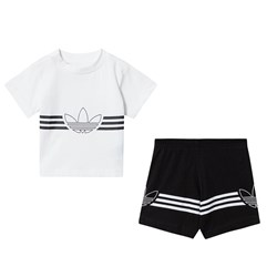 adidas Originals Outline Logo T-Shirt and Short Infants Set White/Black