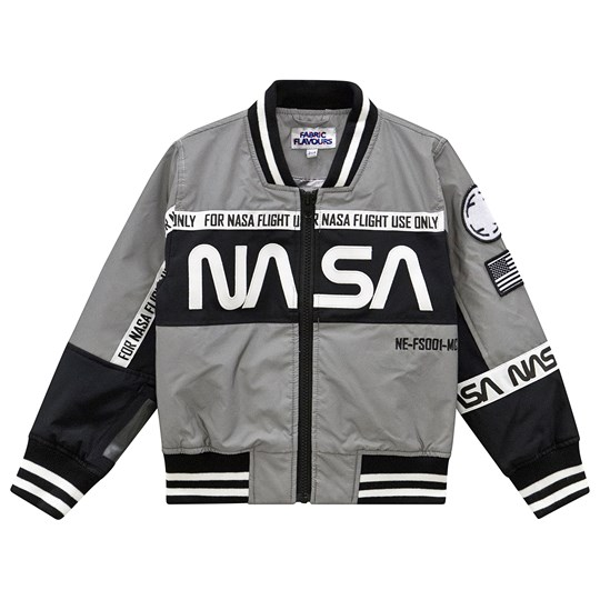 Fabric Flavours NASA Reflective Bomber Jacket Grey Sort
