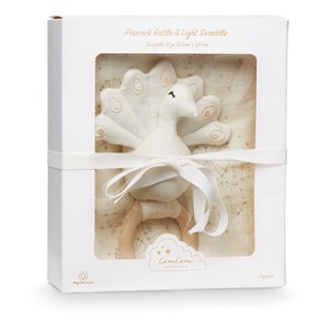 Image of Cam Cam Gift Box with Swaddle and Peacock Rattle Dandelion Natural One Size (1467228)