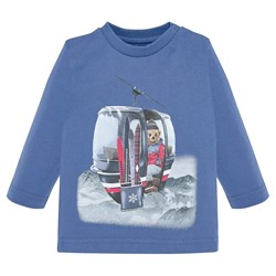 Mayoral Skiing Bear Long Sleeve Tee Blue