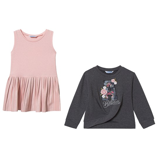 Mayoral 2-in-1 Dress and Sweatshirt Grey/Pink 75