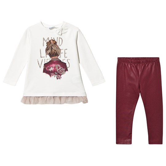 Mayoral 2-Piece Tee and Leggings White/Burgundy 45