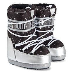 Moon Boot Universe Boots Silver and Black