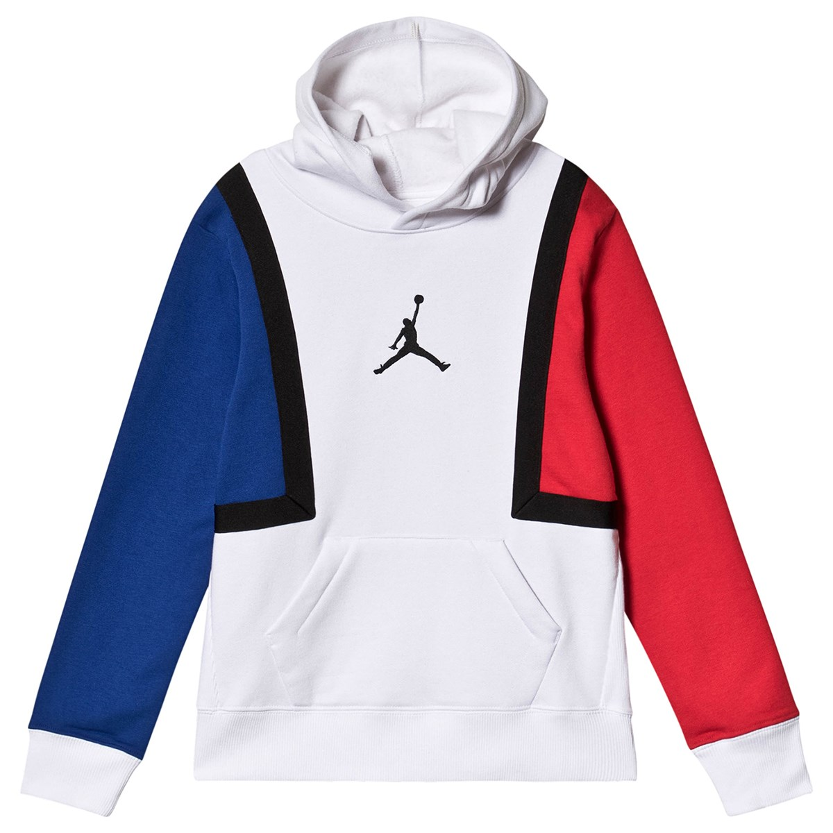 Red and Blue Sleeved Hoodie White