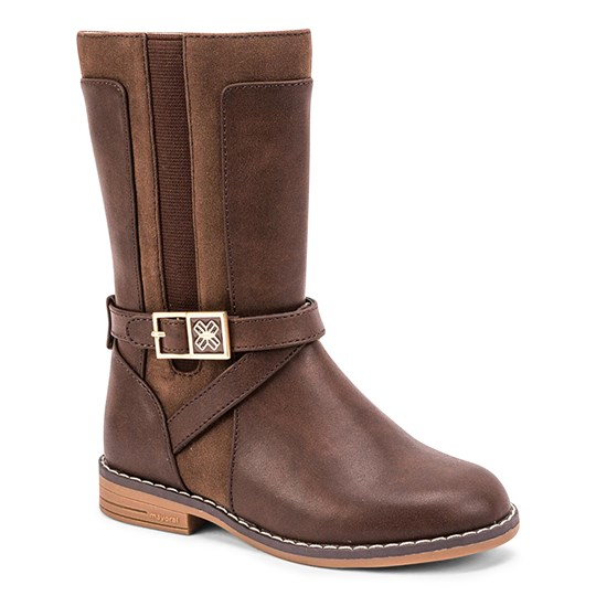 Mayoral Midi Buckle Detail Zip Up Riding Boots Brown 11