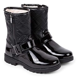 Mayoral Patent Quilted Low Zip Up Boots Black
