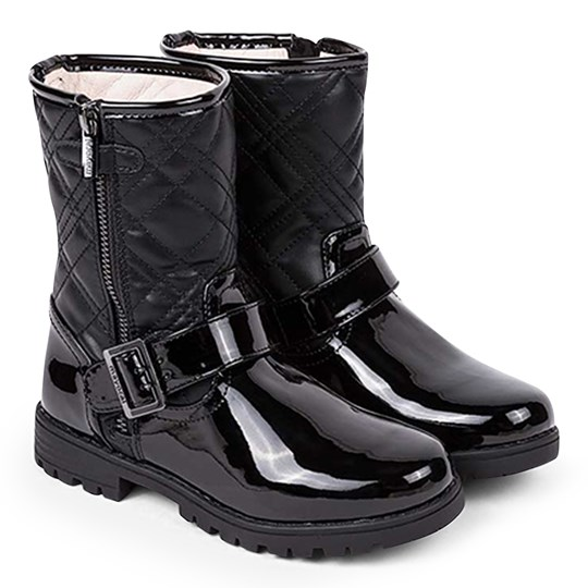 Mayoral Patent Quilted Low Zip Up Boots Black 70