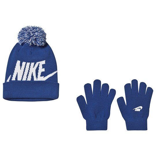 NIKE Logo Beanie and Gloves Set Game Royal U89