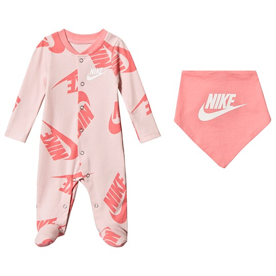 NIKE Logo Layette Set White and Echo Pink AB6