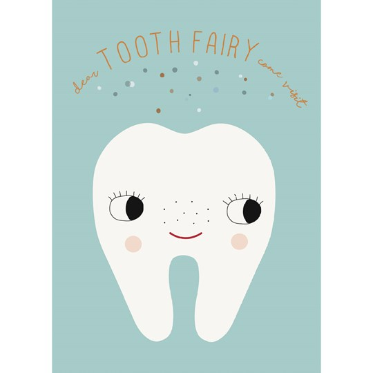 OYOY Tooth Fairy Poster Pale Blue