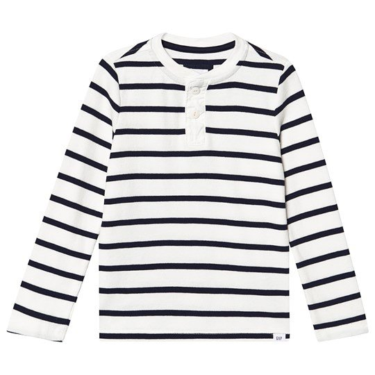 GAP Henley Texture Sweater New Off White Stripe NEW OFF WHITE STRIPE