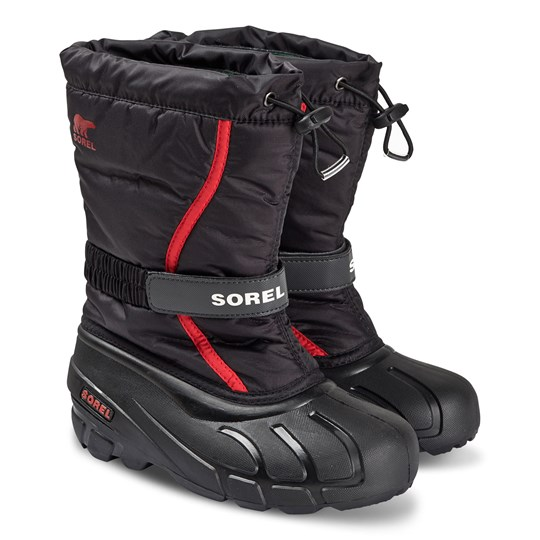Sorel Youth Flurry™ Snow Boots Black/Bright Red Black Bright Red