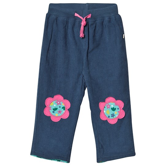 Frugi Organic Corduroy Pants with Flower Navy Space Blue/Flower