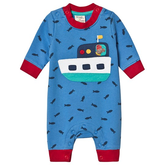 Frugi Organic Cozy One-Piece with Boat Applique Blue Sail Blue Shoals/Boat