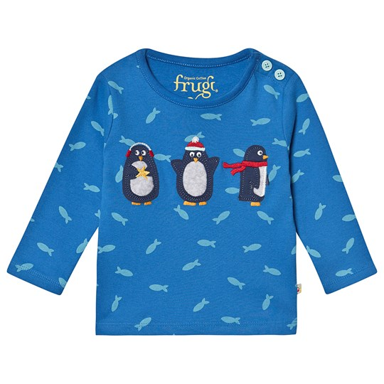 Frugi Organic Penguin and Fish Top Blue Swimming Shoals/Penguin