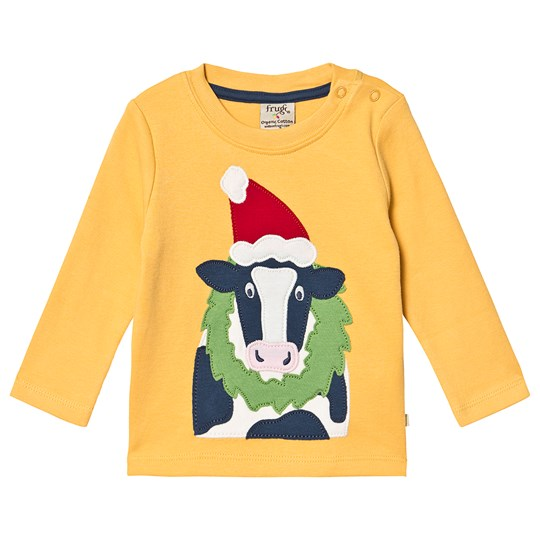 Frugi Organic Christmas Cow Top Yellow Bumble Bee/Cow