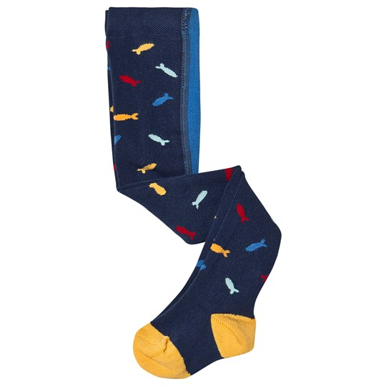 Frugi Organic Tights Fish and Penguin Navy Multi Fish/Penguin