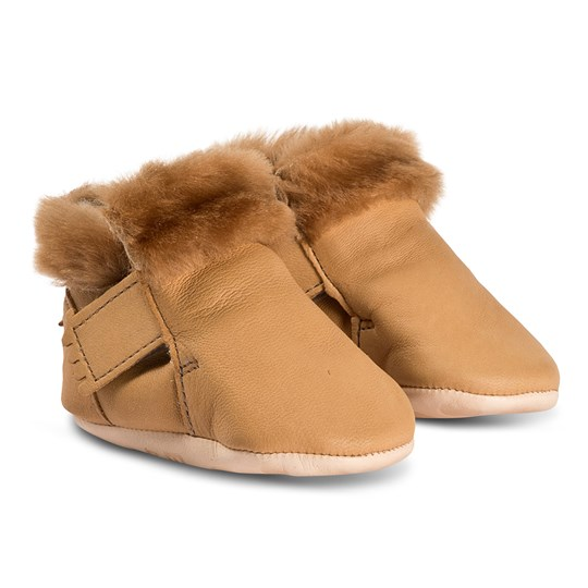 Easy Peasy Foumoo Velcro Faux Fur Lined Booties Tan 066