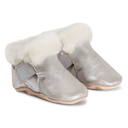 Easy Peasy Foumoo Velcro Faux Fur Lined Booties Silver