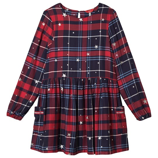 Tom Joule Silver Star Rowena Woven Dress Navy/Red Check RED CHECK STAR