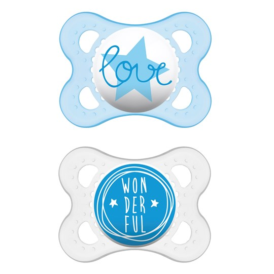 MAM 2-Pack Original Silicone Pacifiers 0-6m Blue Blue