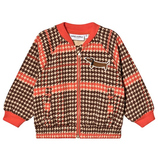 Mini Rodini Houndstooth Zip Cardigan Red Red