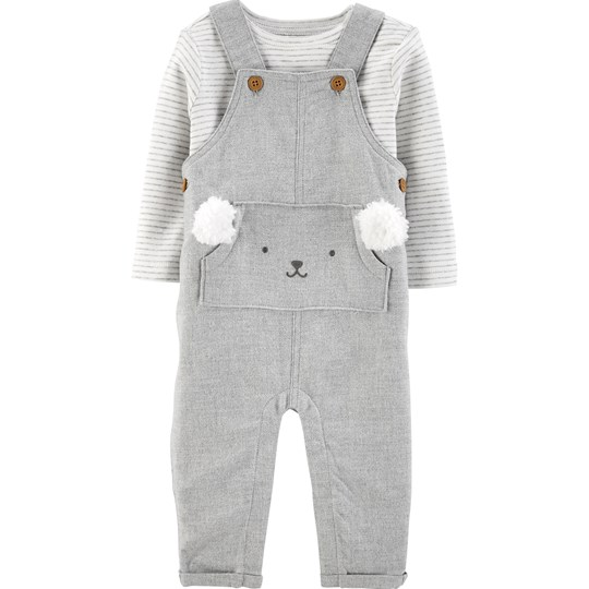 Carter's 2-Piece Tee & Twill Overalls Set Grey HEATHER (053)