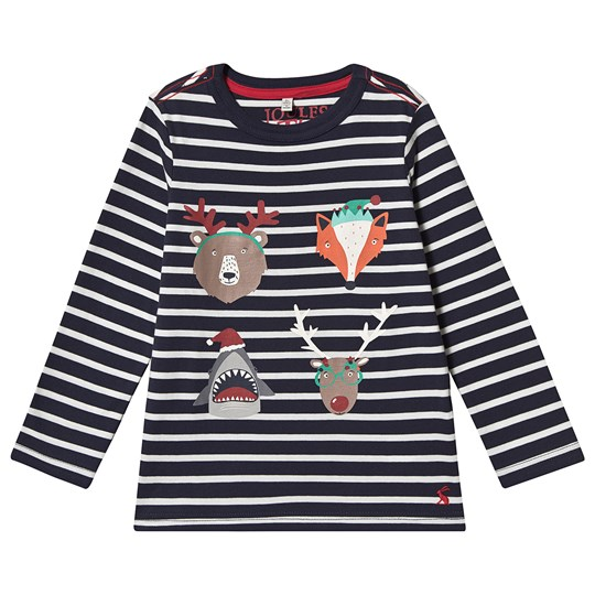 Tom Joule Finlay Festive Animal Stripe Long Sleeve T-Shirt Navy Navy Stripe Xmas Animal