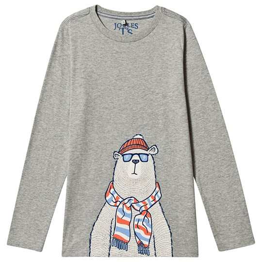 Tom Joule Polar Bear Print Finlay Long Sleeve T-Shirt Grey Grey Polar Bear