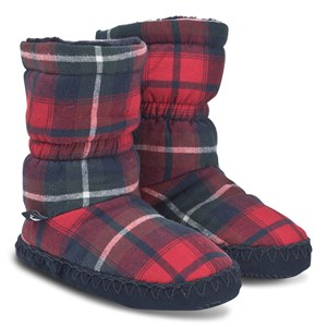 Image of Tom Joule Padabout Fleece Lined Slipper Boots Red Check M (UK 11-13) (1382483)
