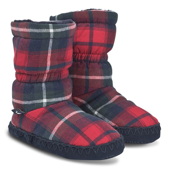 Tom Joule Padabout Fleece Lined Slipper Boots Red Check Red Check