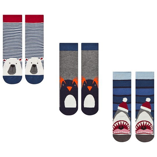 Tom Joule Pack of 3 Multi Antartic Animals Treat Feet Socks Multi Antarctic Animals
