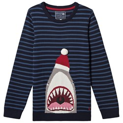 Joules Santa Jaws Sweater Navy